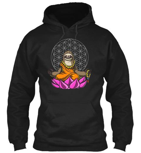 Sloth Buddha Zen Yoga Meditation Flower  Black T-Shirt Front