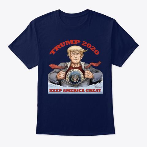 Trump 2020 Cartoon Shirt Navy T-Shirt Front