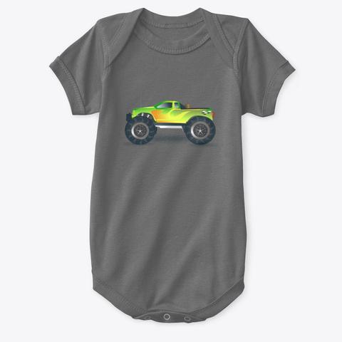 Monster Truck Kids Design Charcoal T-Shirt Front