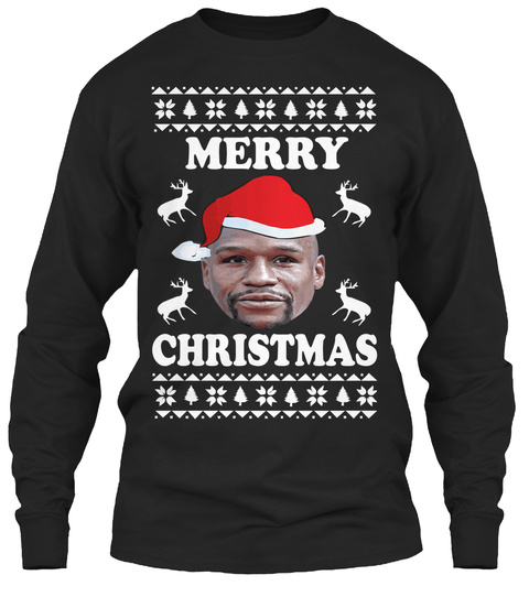 funny boxing christmas sweaters black long sleeve t shirt front