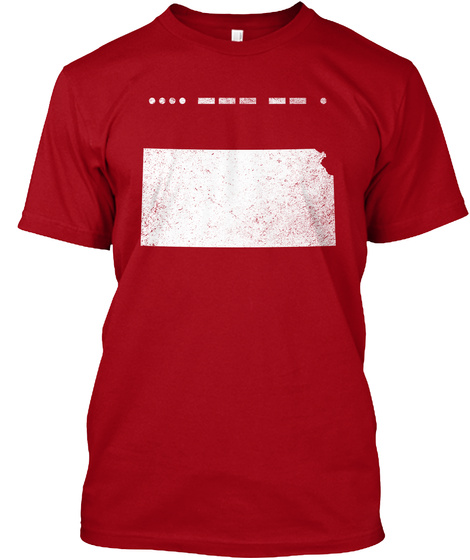 Morse Code Kansas Home Great Gift Idea Deep Red T-Shirt Front