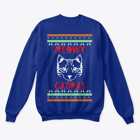 Meowy Christmas   Sweater Deep Royal  T-Shirt Front