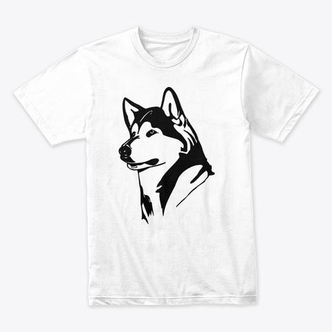 Husky Dog Lovers Mascot White T-Shirt Front