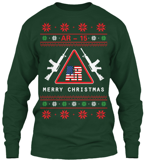 Ar 15 Merry Christmas Forest Green Long Sleeve T-Shirt Front