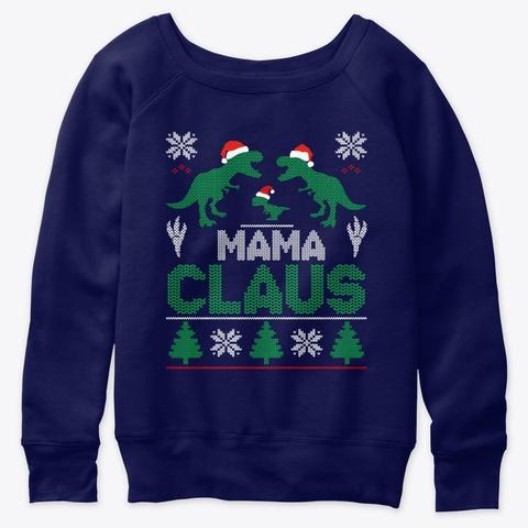 Mama Claus Christmas Matching Family Paj Navy  T-Shirt Front