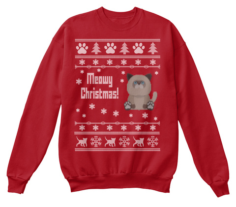 Meowy Christmas Deep Red  T-Shirt Front