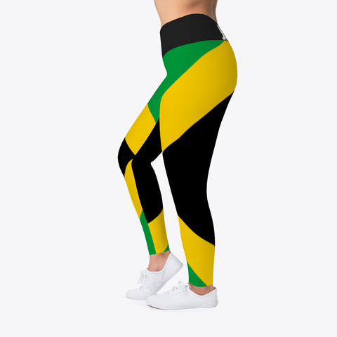 Jamaica Flag  Official  Leggings  Black T-Shirt Left