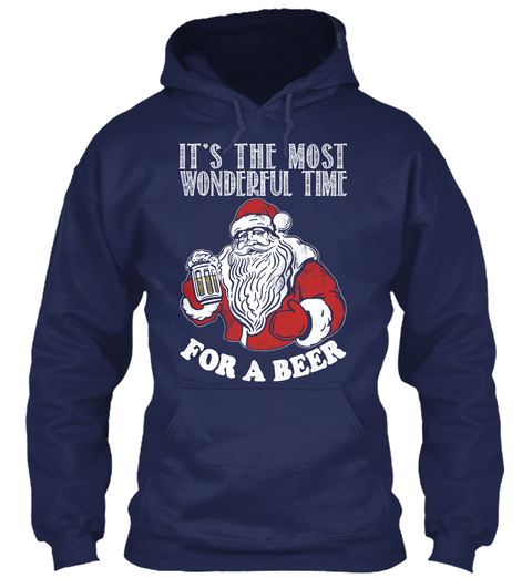 It's The Most Wonderful Time For A Beer Navy Sweatshirt Front