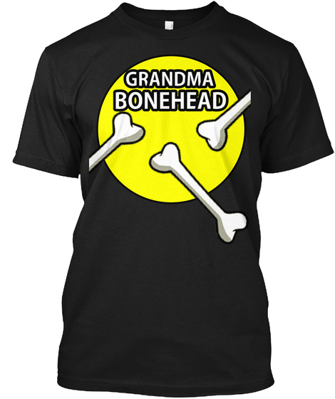 Bonehead T Shirt Grandma (Yellow Fill) Black T-Shirt Front