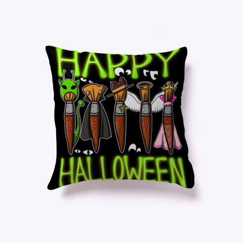 Happy Halloween A Variety Of Paintbrush Black T-Shirt Front
