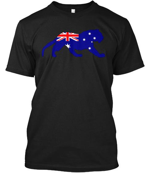 Australian Flag   Tiger Black T-Shirt Front