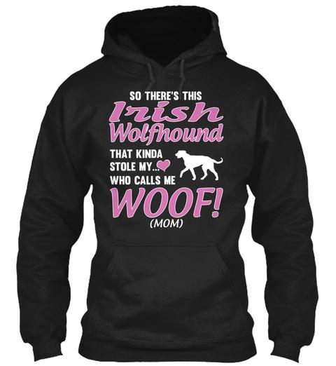 Irish Wolfhound Dog T Shirt Gift Black T-Shirt Front