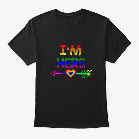 Lgbt Couples Shirts Im Hers Lgbt Black T-Shirt Front