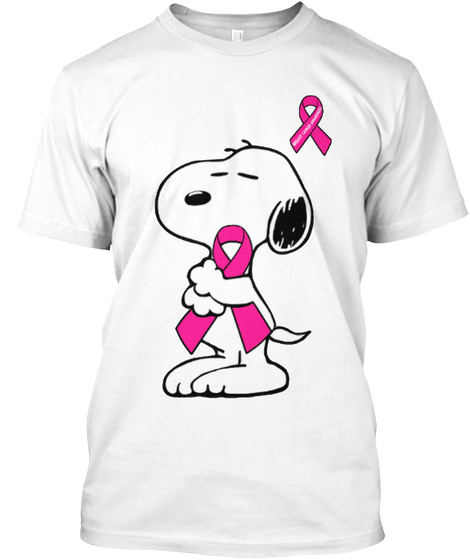 Snoopy   Support Breast Cancer White T-Shirt Front