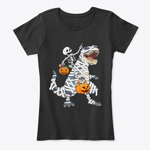 Skeleton Riding T Rex Funny Halloween  Black T-Shirt Front