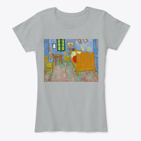 The Bedroom (1889) By Vincent Van Gogh Grey T-Shirt Front