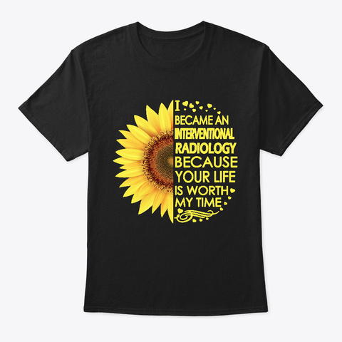 Interventional Radiology Sunflower Black T-Shirt Front