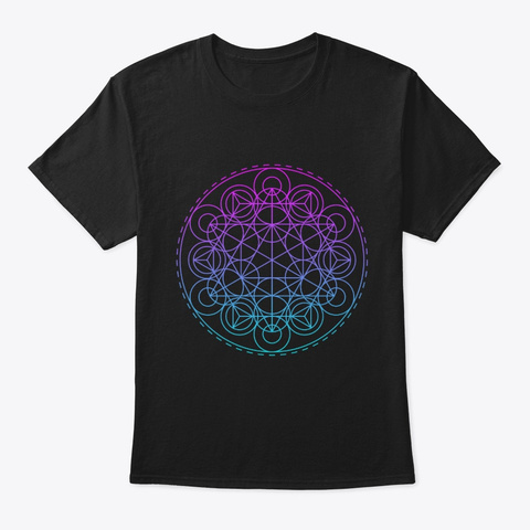 Sacred Geometry Tri Hex Circles Black T-Shirt Front