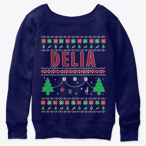 Xmas Themed Personalized For Delia Navy  T-Shirt Front