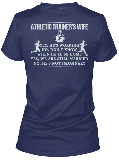 Athletic Trainers Wife Navy T-Shirt Back