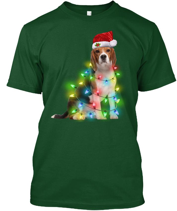 Beagle-christmas-Light-Hanes-Tagless-Tee-T-Shirt
