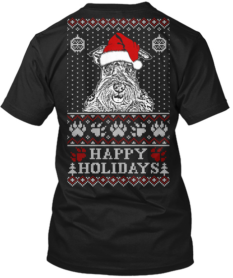 Happy Holidays Black T-Shirt Back