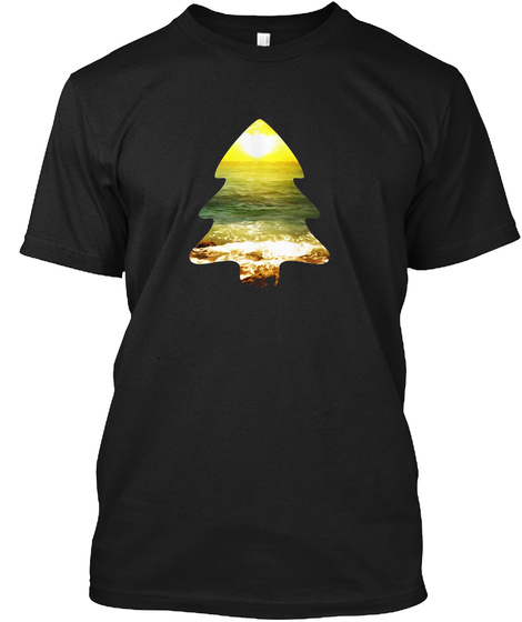 Cool Casual Trendy Merry Christmas Tree Beach Sunset T Shirt Black T-Shirt Front