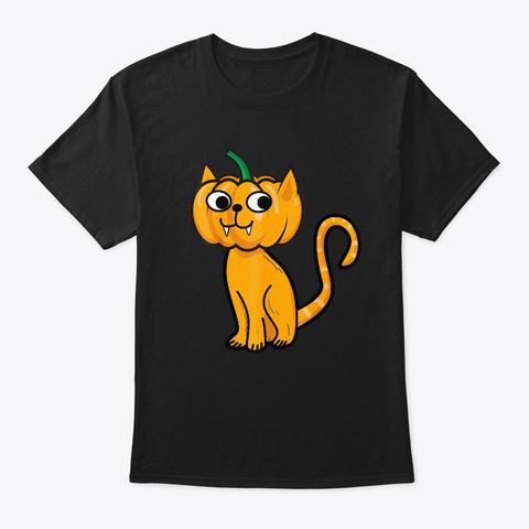 Funny Cat Pumpkin Vampire Cat Halloween Black T-Shirt Front