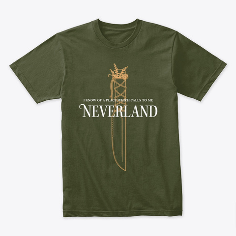'i Know Of A Place' T Shirt Military Green T-Shirt Front