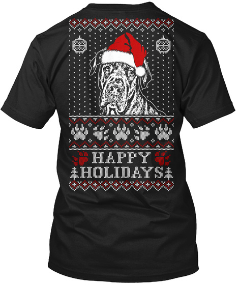 Happy Holidays Black T-Shirt Back