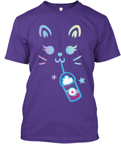 Cat Frappuccino   Rainbow Purple T-Shirt Front