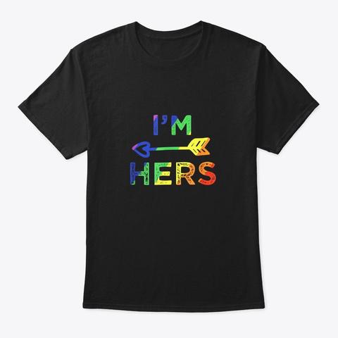 Lesbian Couple Shirts Im Hers Matching Black T-Shirt Front