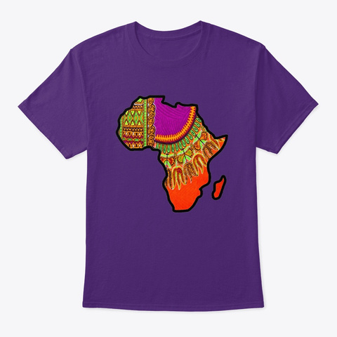Orange Dashiki Floral Print Map Purple T-Shirt Front