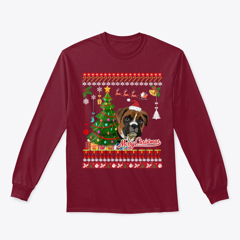 Boxer Dog Christmas Ugly Sweater Boxer Cardinal Red T-Shirt Front