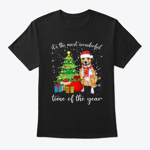 Staffordshire With Christmas Tree Tshirt Black T-Shirt Front