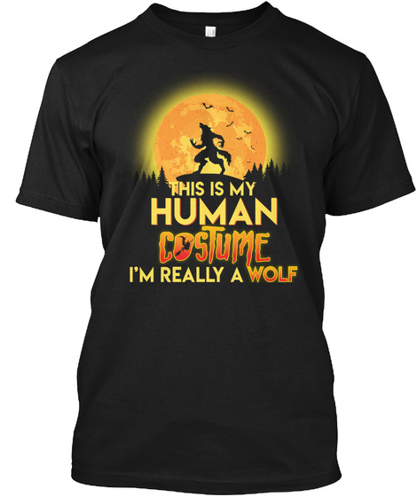 Wolf Halloween Costume Shirt Funny Easy  Black T-Shirt Front