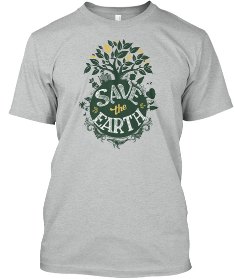 Save The Earth Athletic Grey T-Shirt Front