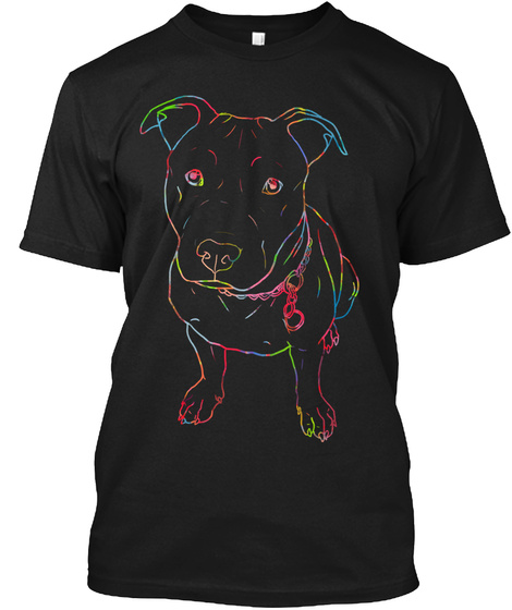 Neon Glowing Pit Bull Gift T Shirt Black T-Shirt Front