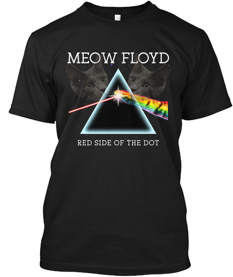 Meow Floyd Red Side Of The Dot Black T-Shirt Front