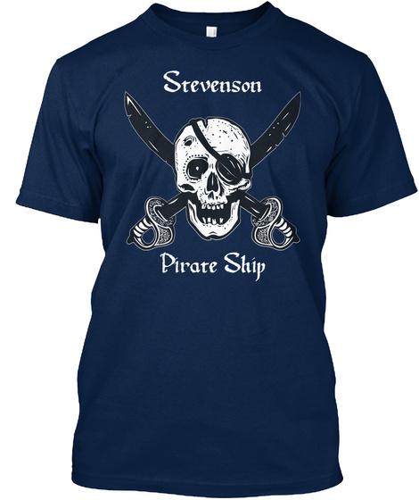 Stevenson's Pirate Ship Navy T-Shirt Front