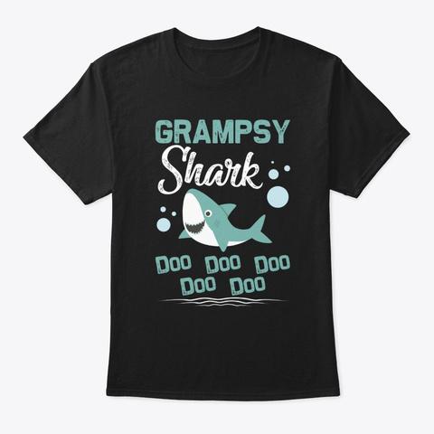 Grampsy Shark Doo Doo Doo Father's Day T Black T-Shirt Front