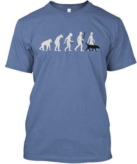 Black Lab Evolution Of Man Denim Blue T-Shirt Front