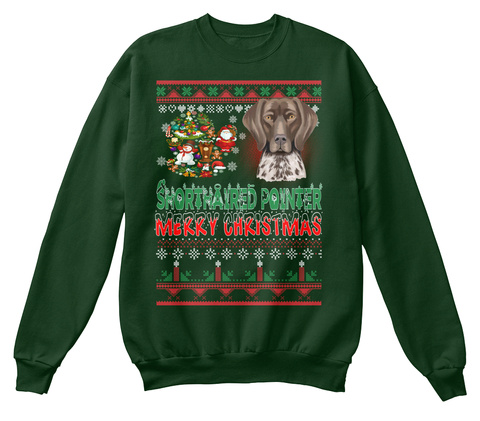 Shorthaired Pointer   Merry Christmas Deep Forest  T-Shirt Front