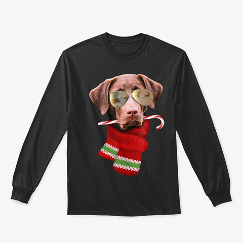 Chocolate Labrador Christmas Gift Shirt Black T-Shirt Front