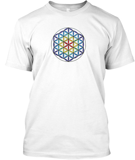 Flower Of Life Art Stain Glass Rainbow T White T-Shirt Front