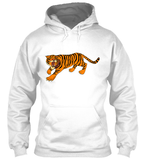 Strong Tiger Animal Present Gift Idea White T-Shirt Front