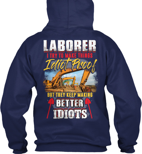 Awesome Laborer Navy T-Shirt Back