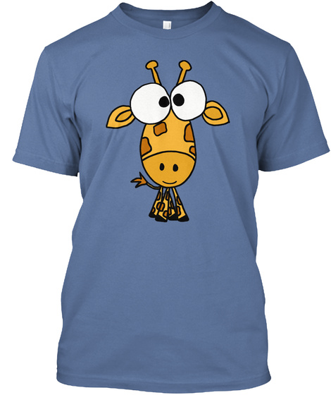 Funny Cute Big Headed Giraffe Cartoon Denim Blue T-Shirt Front