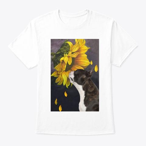 Boston Terrier Sunflower White T-Shirt Front
