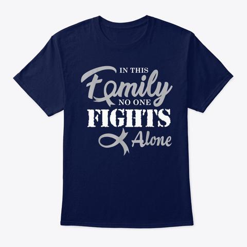 Brain Cancer Awareness Fight Cancer Navy T-Shirt Front